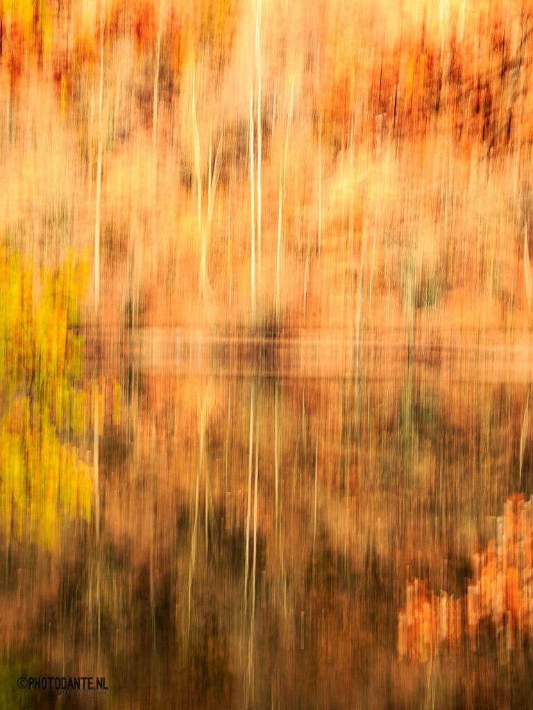 Abstracte fotografie stuwmeer de Nisramont stuwmeer.