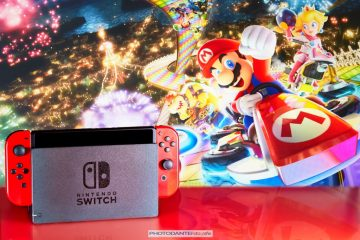 Nintendo Switch and Mario Kart on the RainBow Road
